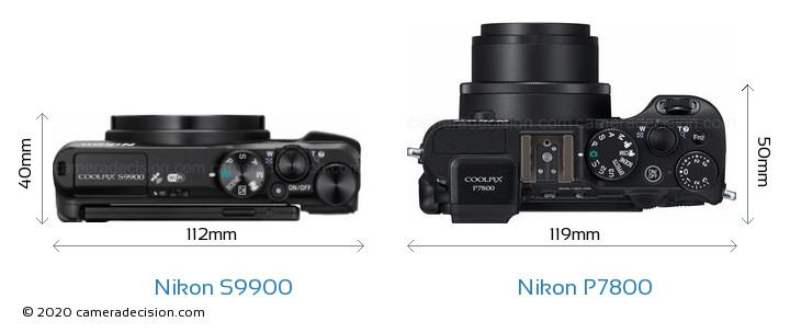 Nikon S9900 vs Nikon P7800 Camera Size Comparison - Top View