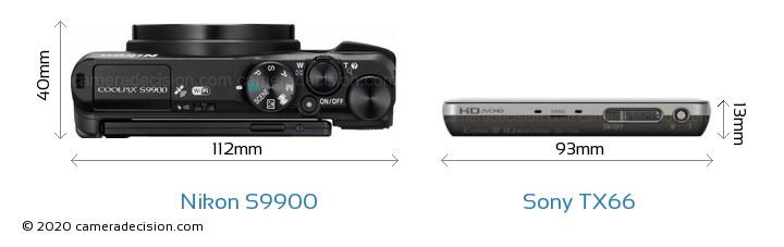 Nikon S9900 vs Sony TX66 Camera Size Comparison - Top View