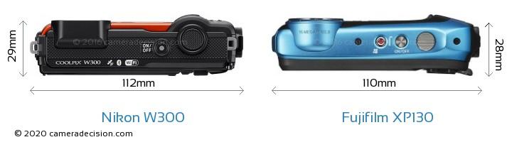 Nikon W300 vs Fujifilm XP130 Camera Size Comparison - Top View