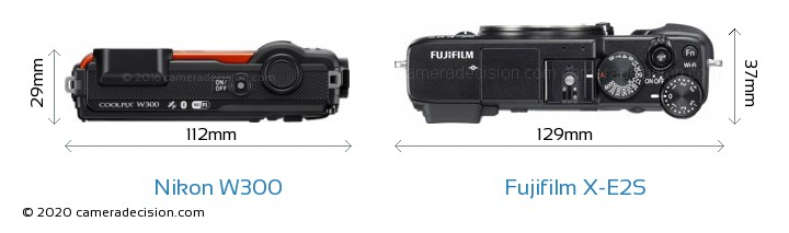 Nikon W300 vs Fujifilm X-E2S Camera Size Comparison - Top View