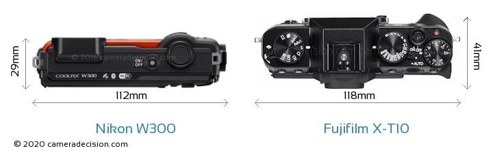 Nikon W300 vs Fujifilm X-T10 Camera Size Comparison - Top View