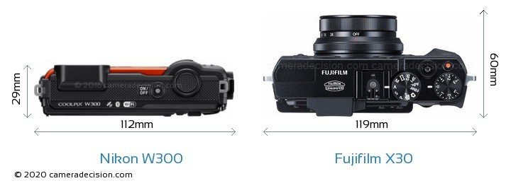 Nikon W300 vs Fujifilm X30 Camera Size Comparison - Top View