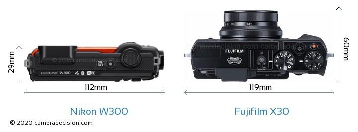 Nikon W300 vs Fujifilm X30 Camera Size Comparison - Top View
