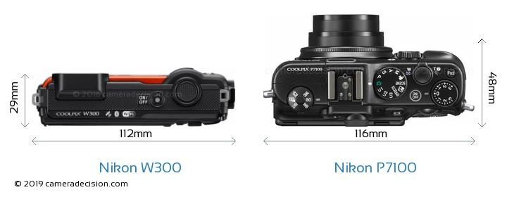 Nikon W300 vs Nikon P7100 Camera Size Comparison - Top View