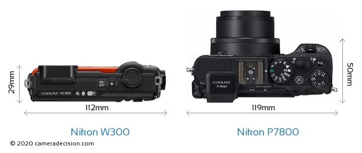 Nikon W300 vs Nikon P7800 Camera Size Comparison - Top View
