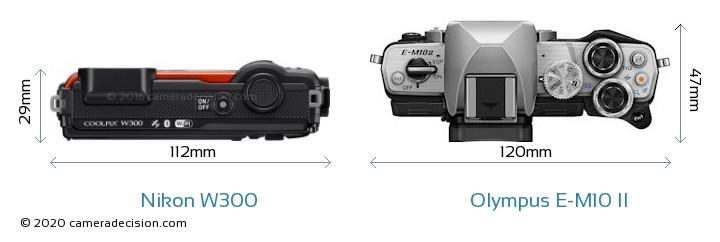 Nikon W300 vs Olympus E-M10 II Camera Size Comparison - Top View