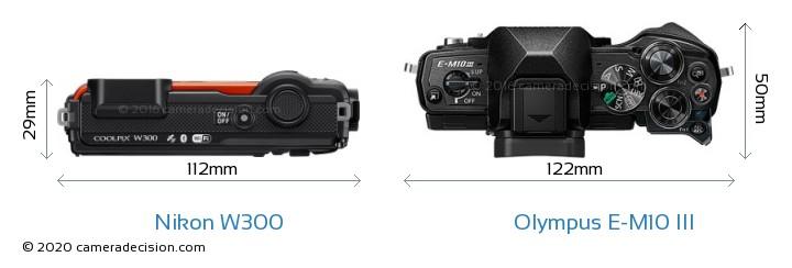 Nikon W300 vs Olympus E-M10 MIII Camera Size Comparison - Top View
