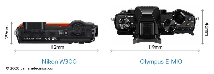 Nikon W300 vs Olympus E-M10 Camera Size Comparison - Top View