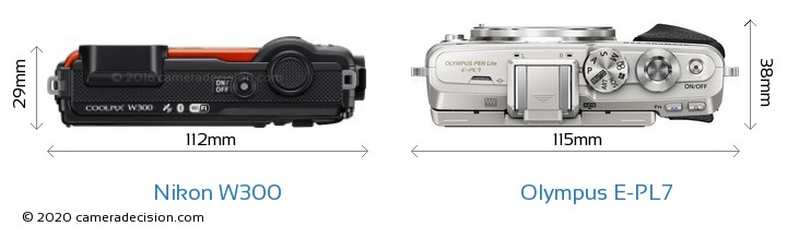 Nikon W300 vs Olympus E-PL7 Camera Size Comparison - Top View