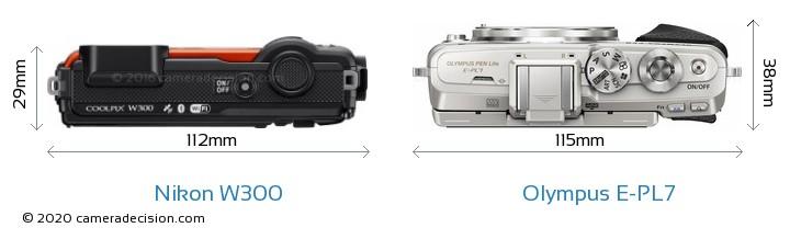 Nikon W300 vs Olympus E-PL7 Camera Size Comparison - Top View