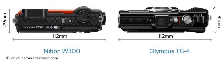 Nikon W300 vs Olympus TG-4 Camera Size Comparison - Top View