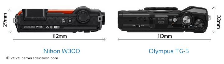 Nikon W300 vs Olympus TG-5 Camera Size Comparison - Top View