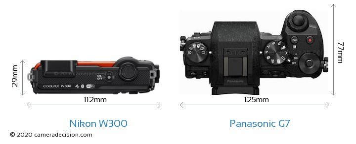 Nikon W300 vs Panasonic G7 Camera Size Comparison - Top View