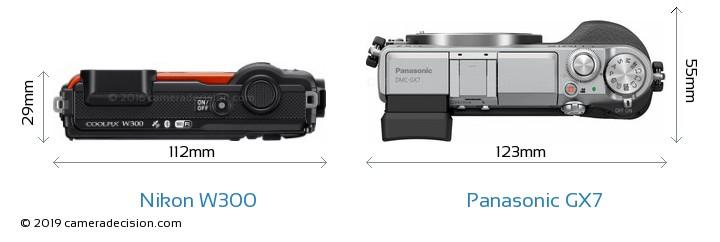 Nikon W300 vs Panasonic GX7 Camera Size Comparison - Top View