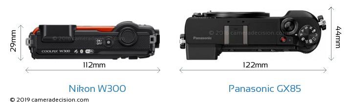 Nikon W300 vs Panasonic GX85 Camera Size Comparison - Top View
