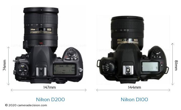 Nikon D200 vs Nikon D100 Camera Size Comparison - Top View