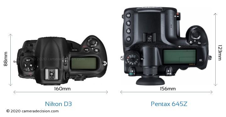 Nikon D3 vs Pentax 645Z Camera Size Comparison - Top View