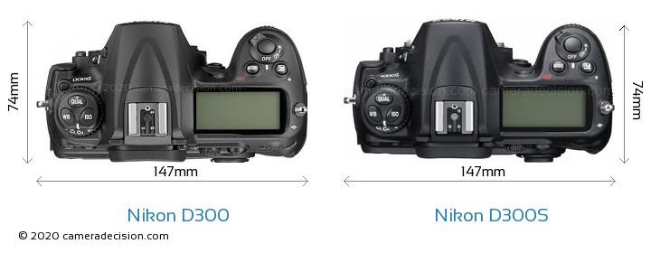 Nikon D300 vs Nikon D300S Camera Size Comparison - Top View