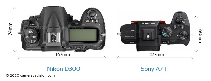 Nikon D300 vs Sony A7 II Camera Size Comparison - Top View