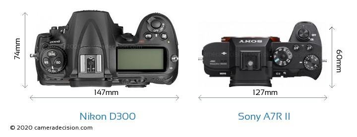 Nikon D300 vs Sony A7R II Camera Size Comparison - Top View