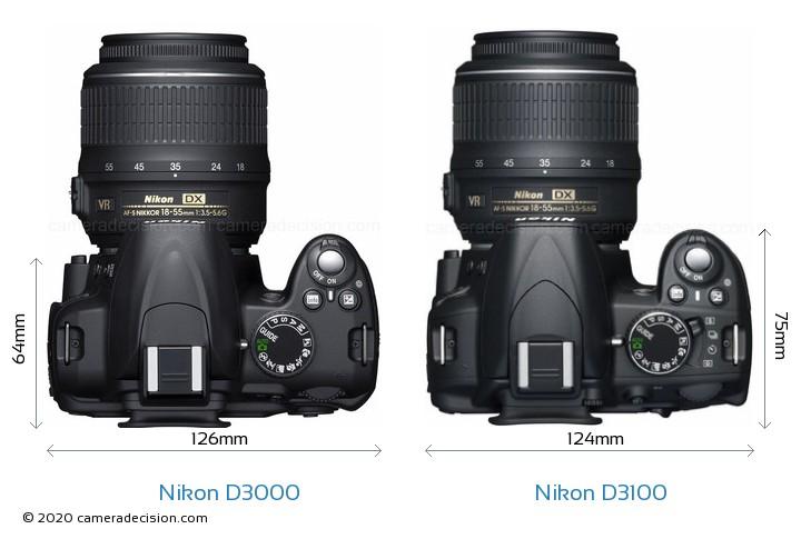 Nikon D3000 vs Nikon D3100 Camera Size Comparison - Top View