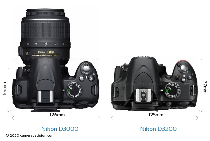 Nikon D3000 vs Nikon D3200 Camera Size Comparison - Top View