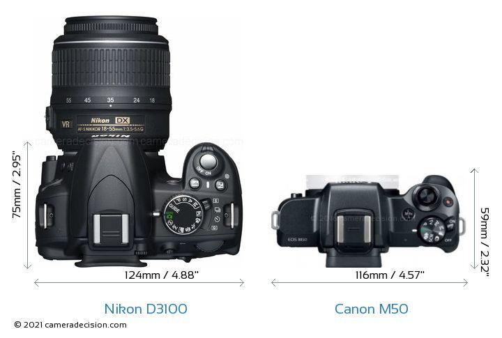 Nikon D3100 vs Canon M50 Camera Size Comparison - Top View