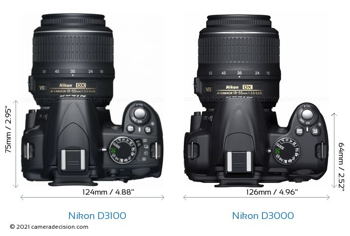 Nikon D3100 vs Nikon D3000 Camera Size Comparison - Top View