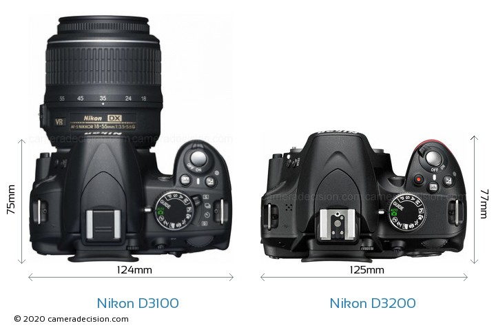 Nikon D3100 vs Nikon D3200 Camera Size Comparison - Top View