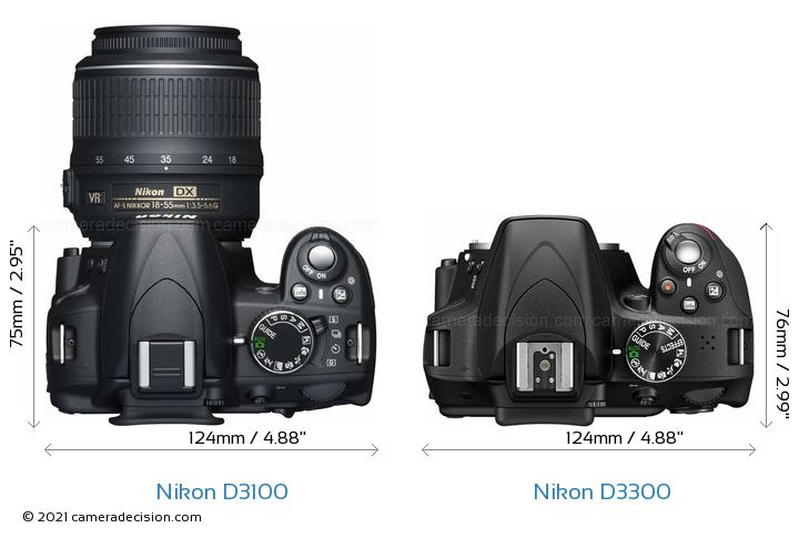 Nikon D3100 vs Nikon D3300 Camera Size Comparison - Top View