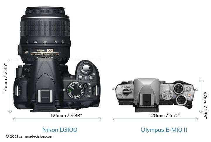 Nikon D3100 vs Olympus E-M10 II Camera Size Comparison - Top View