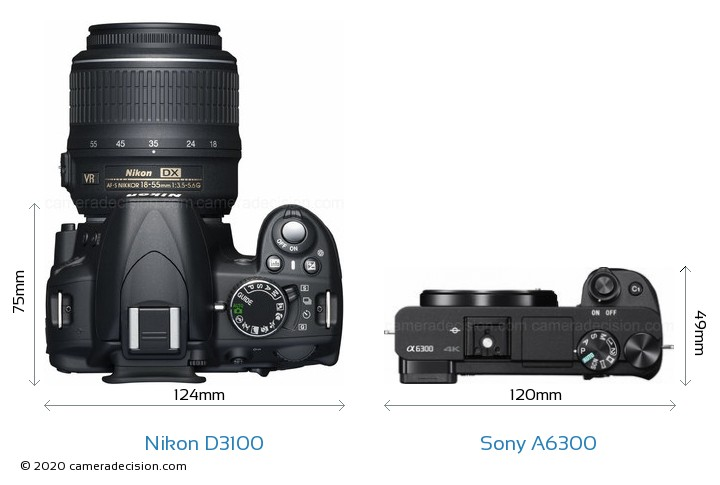Nikon D3100 vs Sony A6300 Camera Size Comparison - Top View