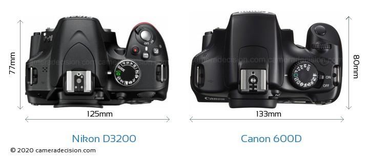 Nikon D3200 vs Canon 600D Camera Size Comparison - Top View