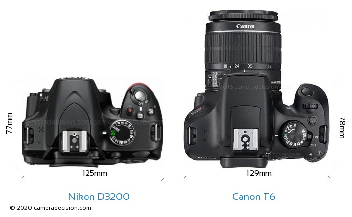 Nikon D3200 vs Canon T6 Camera Size Comparison - Top View