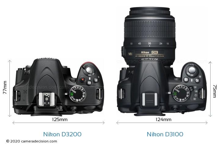 Nikon D3200 vs Nikon D3100 Camera Size Comparison - Top View