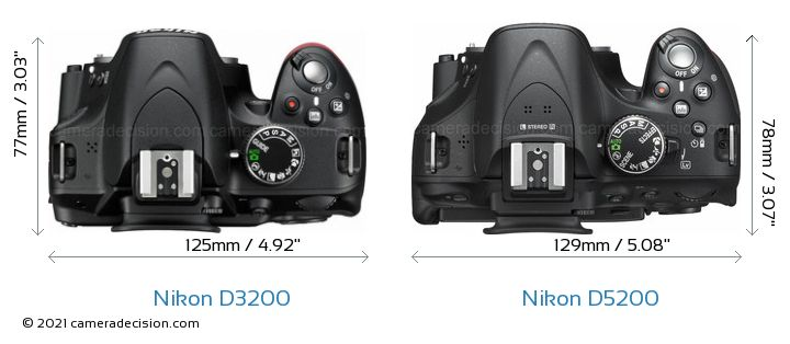 Nikon D3200 vs Nikon D5200 Camera Size Comparison - Top View