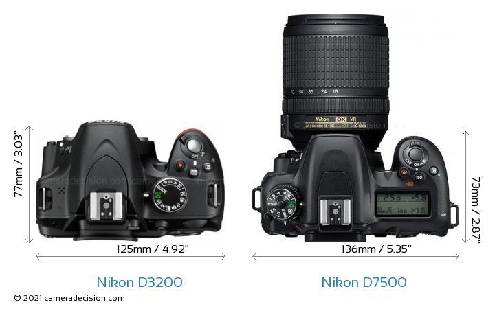 Nikon D3200 vs Nikon D7500 Camera Size Comparison - Top View