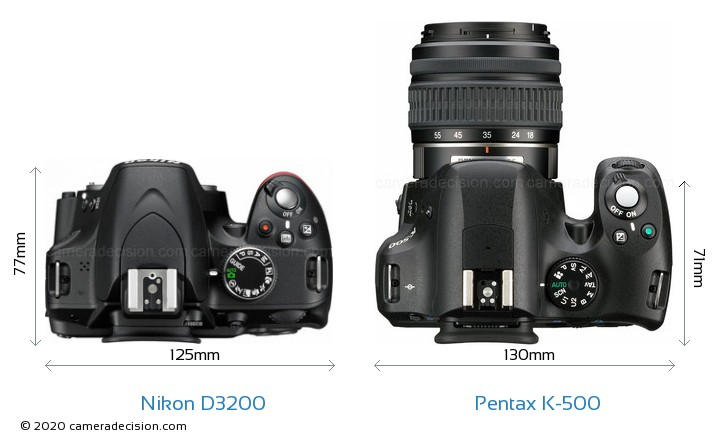 Nikon D3200 vs Pentax K-500 Camera Size Comparison - Top View
