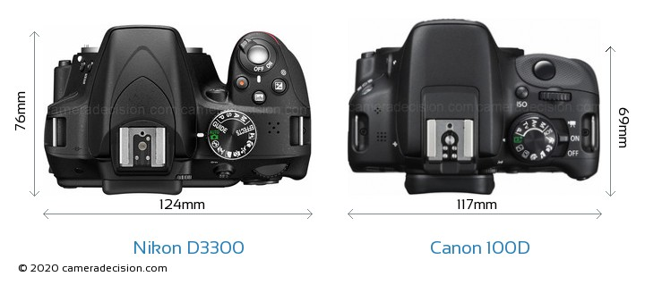Nikon D3300 vs Canon 100D Camera Size Comparison - Top View
