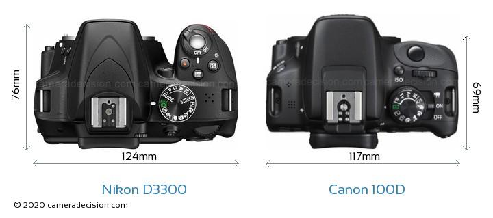 Nikon D3300 vs Canon 100D Camera Size Comparison - Top View