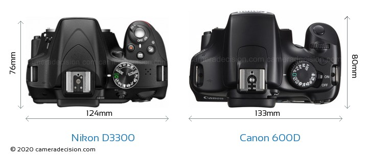 Nikon D3300 vs Canon 600D Camera Size Comparison - Top View