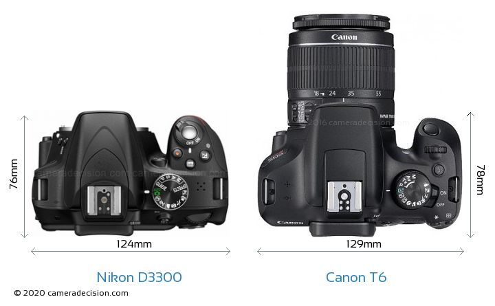 Nikon D3300 vs Canon T6 Camera Size Comparison - Top View