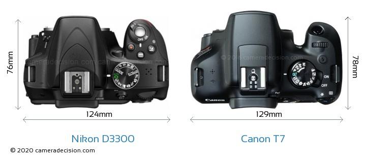 Nikon D3300 vs Canon T7 Camera Size Comparison - Top View
