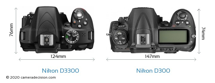 Nikon D3300 vs Nikon D300 Camera Size Comparison - Top View
