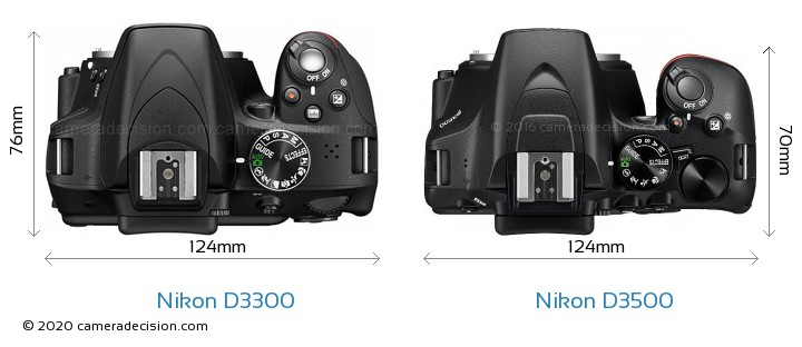 Nikon D3300 vs Nikon D3500 Camera Size Comparison - Top View
