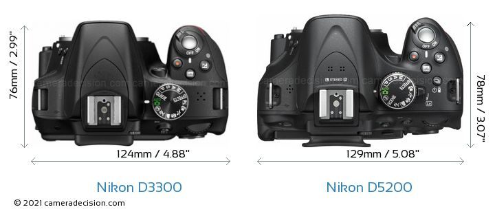 Nikon D3300 vs Nikon D5200 Camera Size Comparison - Top View