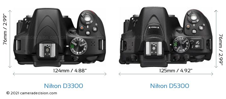 Nikon D3300 vs Nikon D5300 Camera Size Comparison - Top View