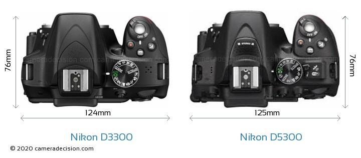Nikon D3300 vs Nikon D5300 Camera Size Comparison - Top View
