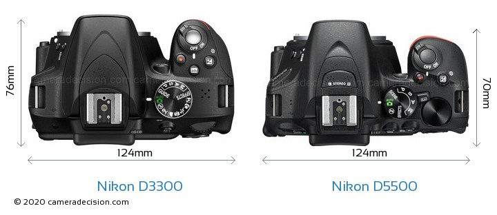 Nikon D3300 vs Nikon D5500 Camera Size Comparison - Top View