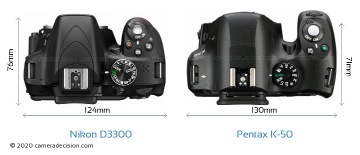 Nikon D3300 vs Pentax K-50 Camera Size Comparison - Top View